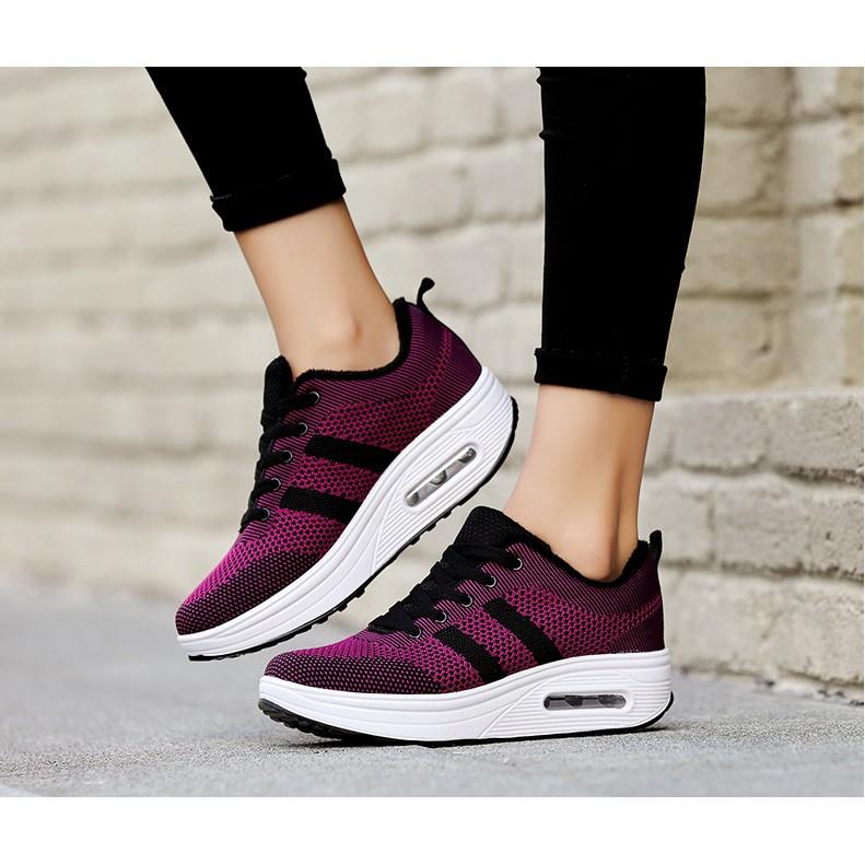 แฟชั่น รองเท้าผ้าใบ รองเท้าแพลตฟอร์ม สีม่วง สำหรั