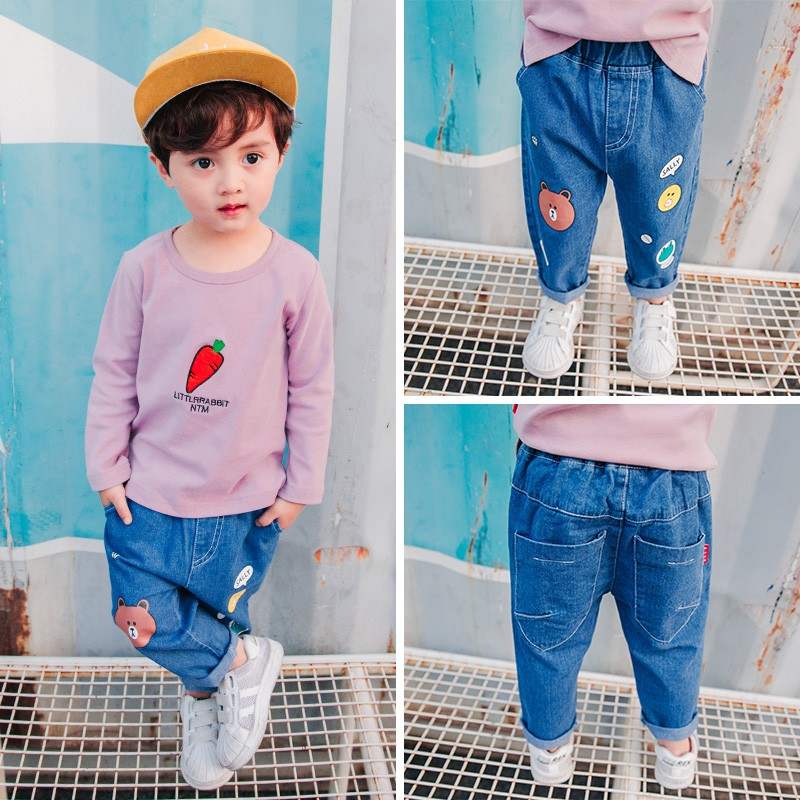 31dab907fb children casual black denim Pants Kids Boys patchwork letters red ribbon  Jeans | Shopee Malaysia