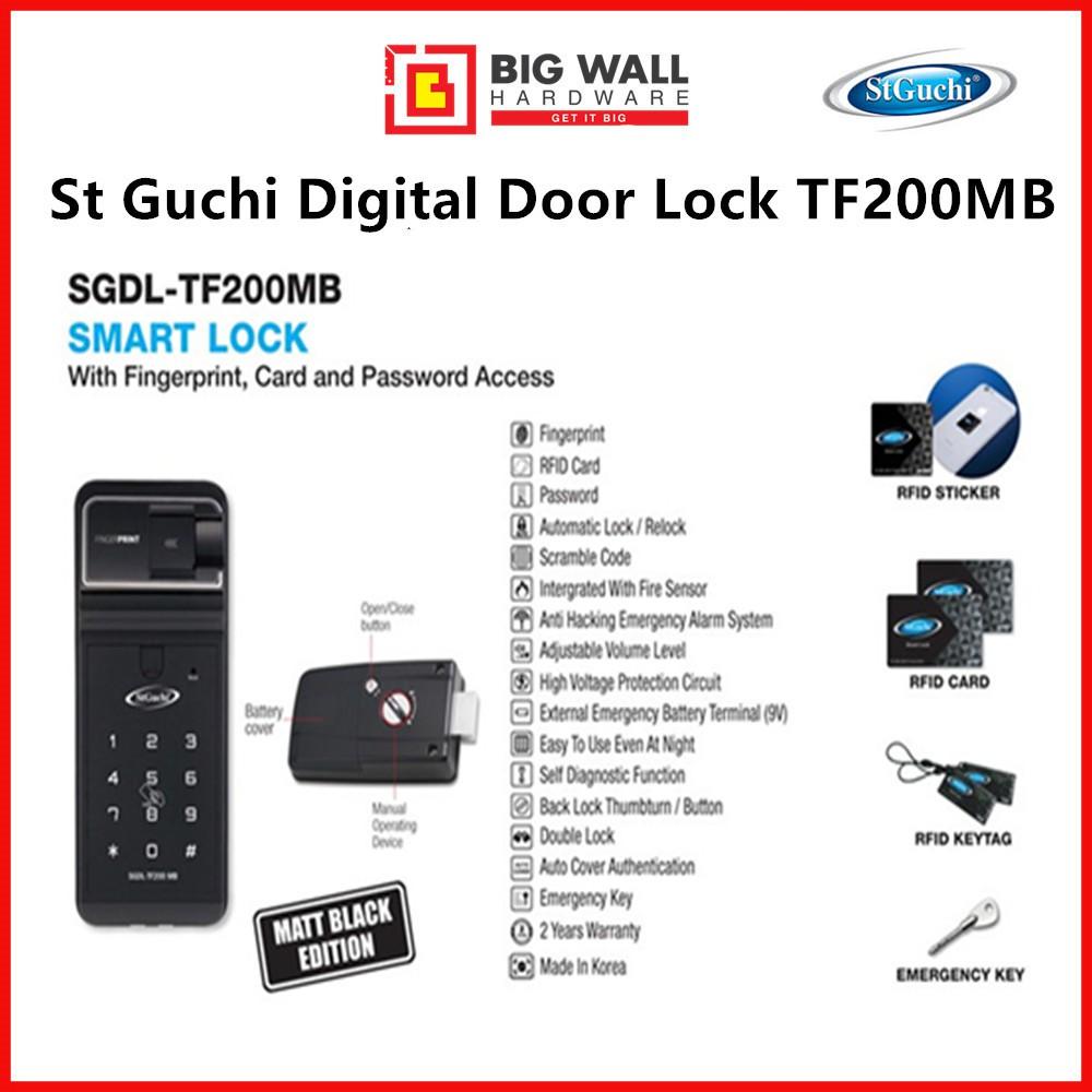 ST GUCHI SGDL TF 200 FINGERPRINT DIGITAL DOOR LOCK (with Free Luggage Padlock)