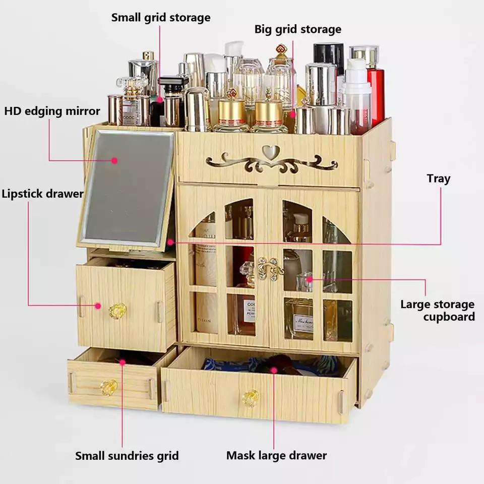 [ READY STOCK ]  Wood Hello Kitty Cosmetic Storage Organizer Cabinet Makeup Box Jualan Murah Furniture Perabut Simpanan
