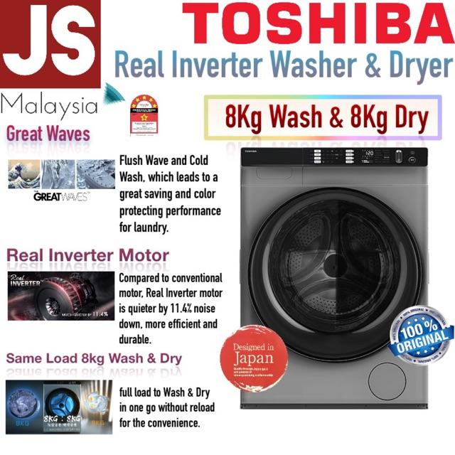 Toshiba Wash & Dry 8kg : 8kg Capacity Real Inverter TWD-BH90W4 [10Years Motor Warranty]