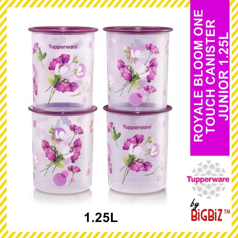 Original TUPPERWARE Royale Bloom One Touch Canister Junior (4) 1.25L [ Ready Stock ]