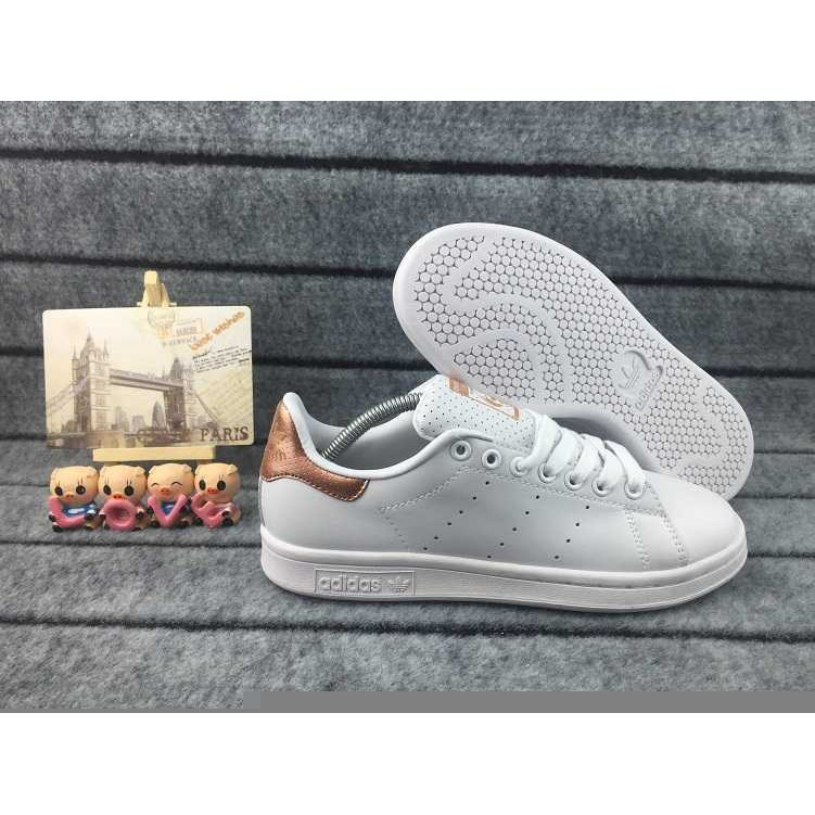Negrita Triturado Atento  Original Adidas Stan Smith Men's and Women's Sport shoes White/Rose gold |  Shopee Malaysia