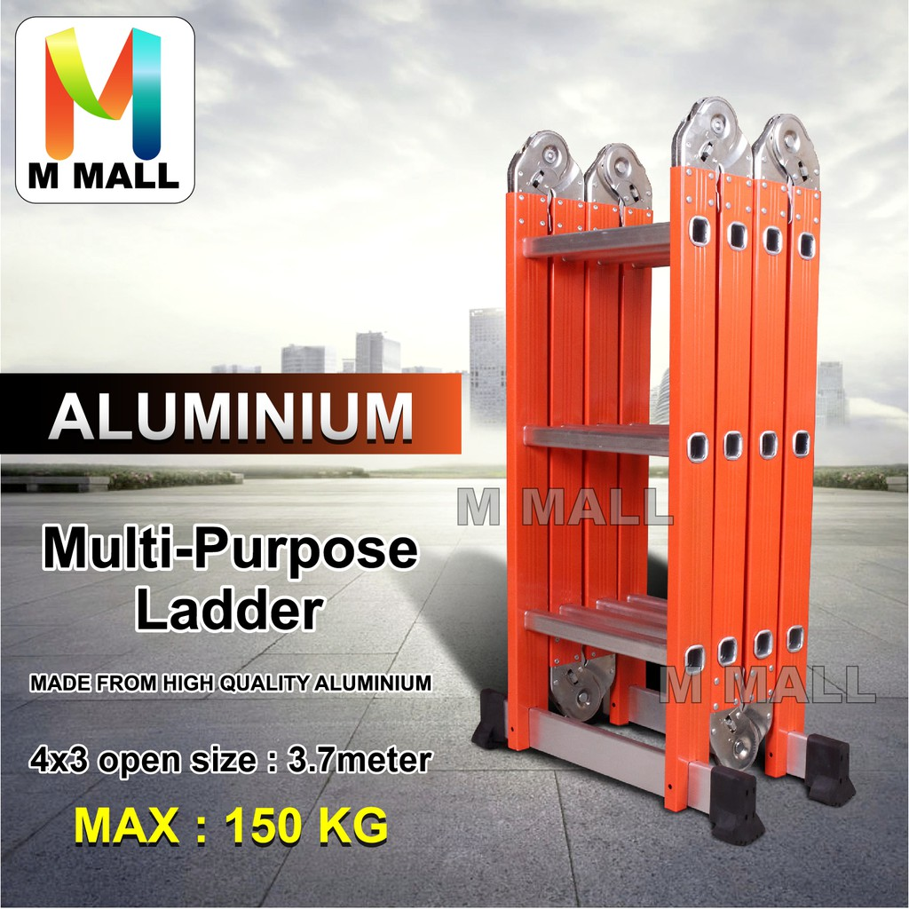 Aluminium Multipurpose Ladder 12 Steps Folding Ladder Medium Duty Tangga  3 7mete