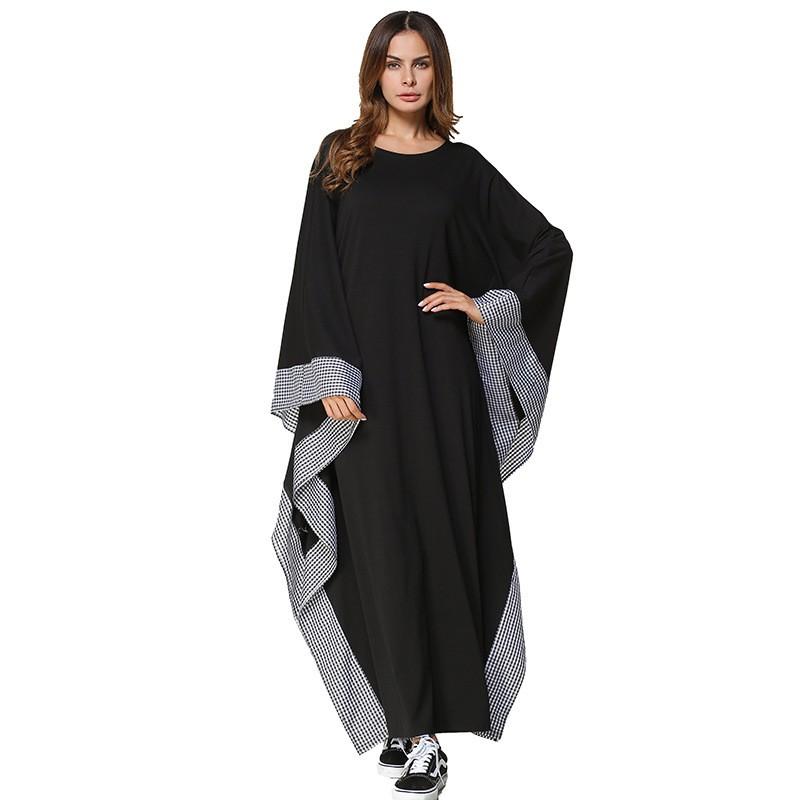 c6a6cec8b1 Casual Maxi Dress Muslim Abaya Bat Sleeve Long Robe Gowns Loose Plaid  Clothing