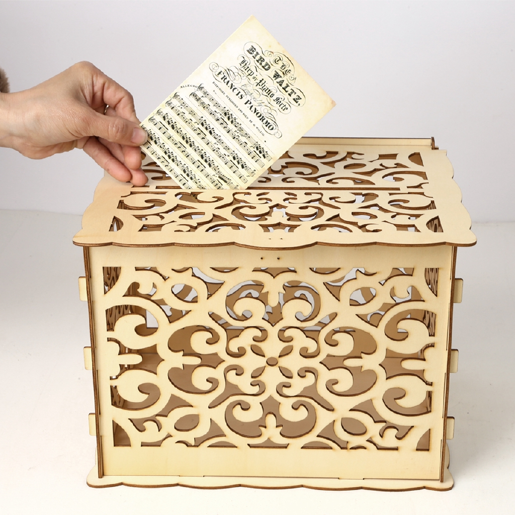 Wedding Card Box With Lock Diy Money Wooden Gift Petal Boxes For Birthday Party