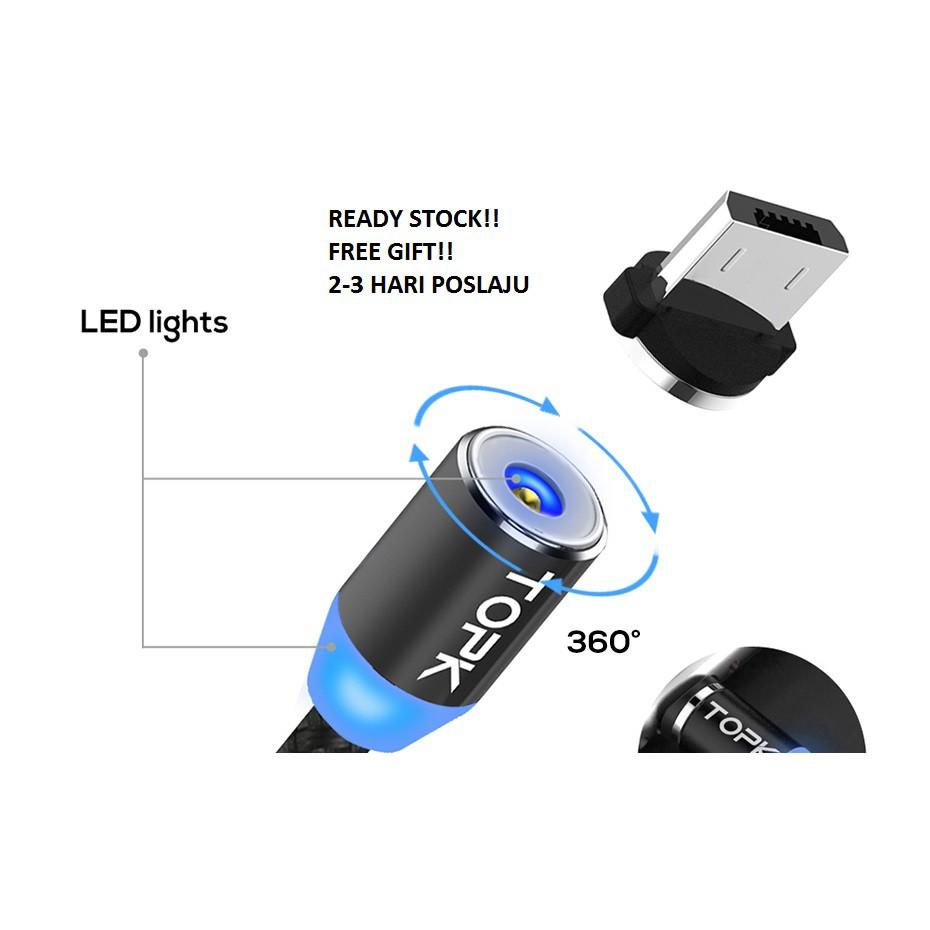 READY STOCK!! TOPK R-Line2 1M LED Magnetic Micro USB Cable 2-3 HARI SAMPAI