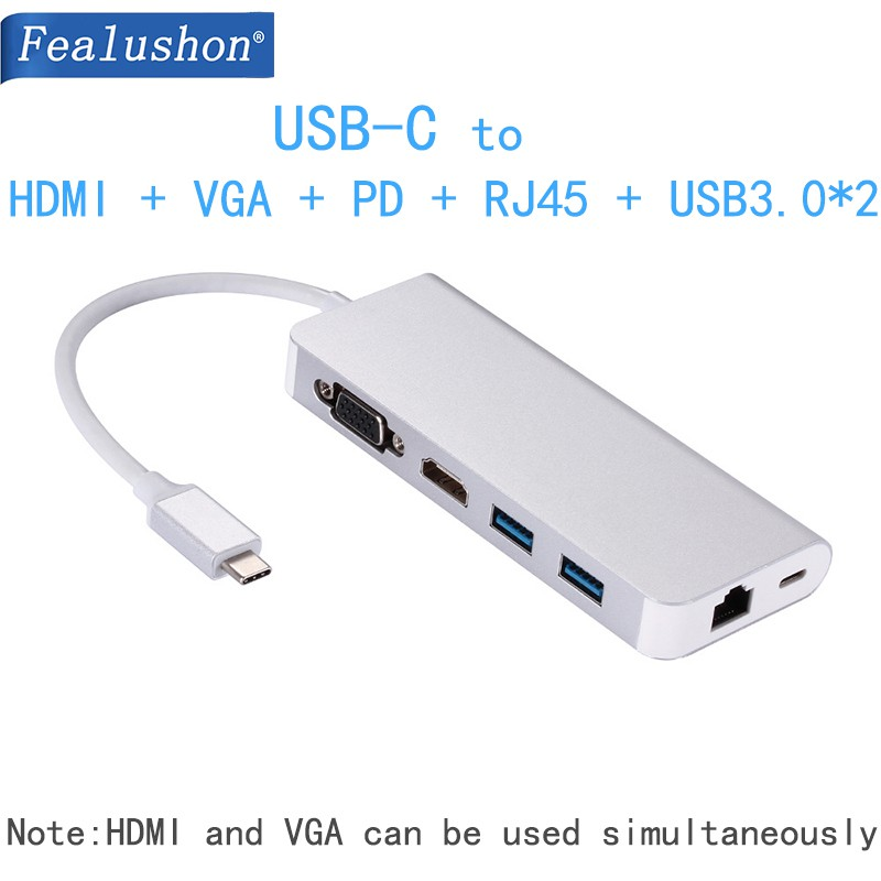 Hub USB-C Converter Adapter For Laptop Macbook HP DELL Surface Lenovo  Samsung s8