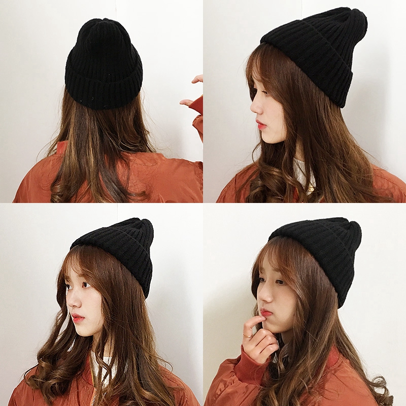 c8016e5b2 Autumn winter black wool hat female ins cute Japanese cold hat wild knit hat