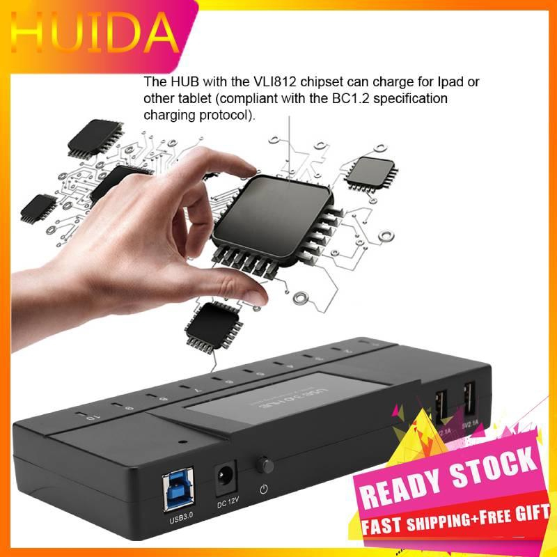 Huida Portable Hub, 10 Port 5Gbps USB 3.0 Hub with 2 Fast Charging Ports / LED Indicator / Hot Swap Function, for iPhone