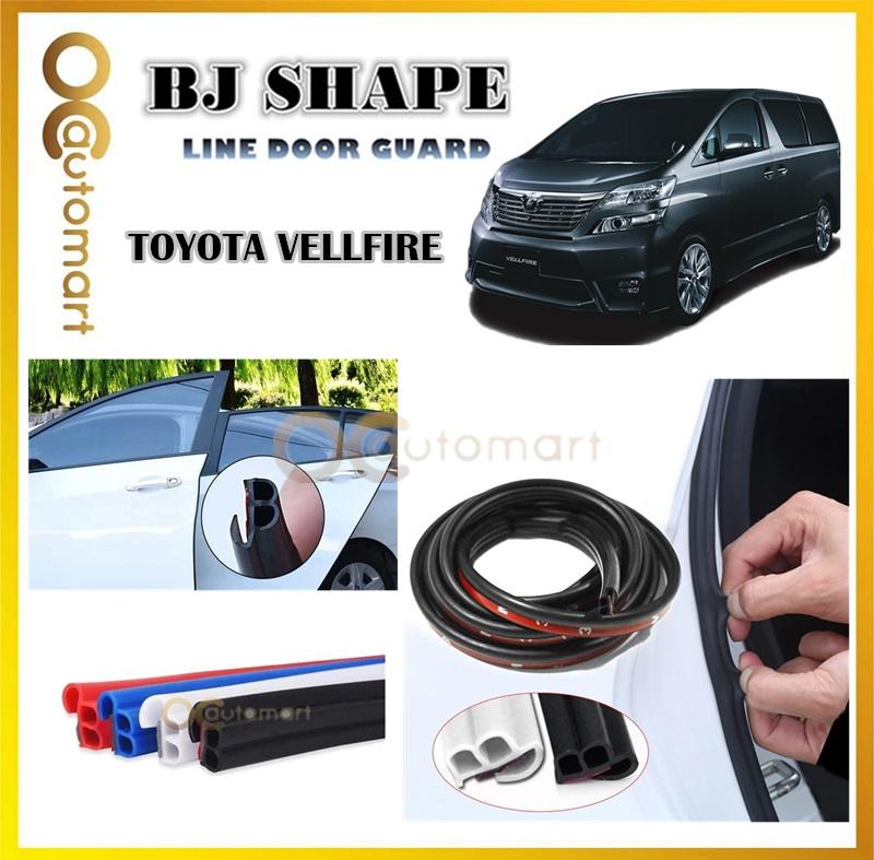 Toyota Vellfire (4 Door) 2 in 1 BJ Shape 16FT (5M) Car Door Guard Scratch Strip Rubber With Sound Insulation Tap