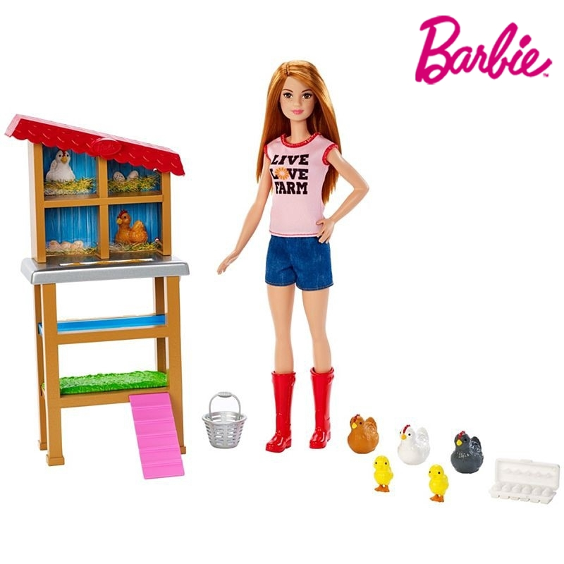 """BARBIE on the Farm 12"""" Doll w// Chicken Red Shirt Boots Agriculture Blue Jeans"""