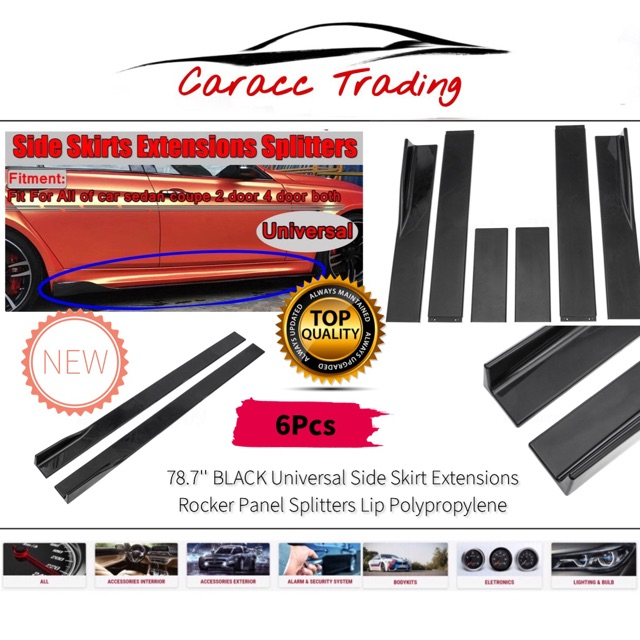 6pcs 78.7'' BLACK Universal Side Skirt Extensions Rocker Panel Splitters Lip