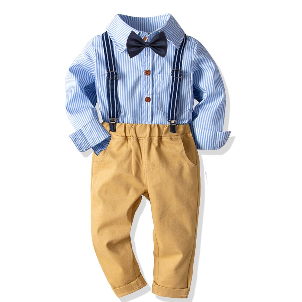 Fairy Baby Little Boys Gentleman Outfit Casual Long Sleeve Striped Formal Shirt with Bow