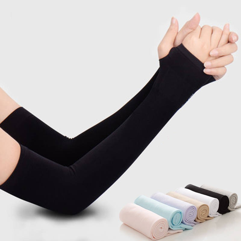UV Sun Protection Sleeve Ice Silk Cuffs Cooling Arm Sleeves For Lady Women Girls