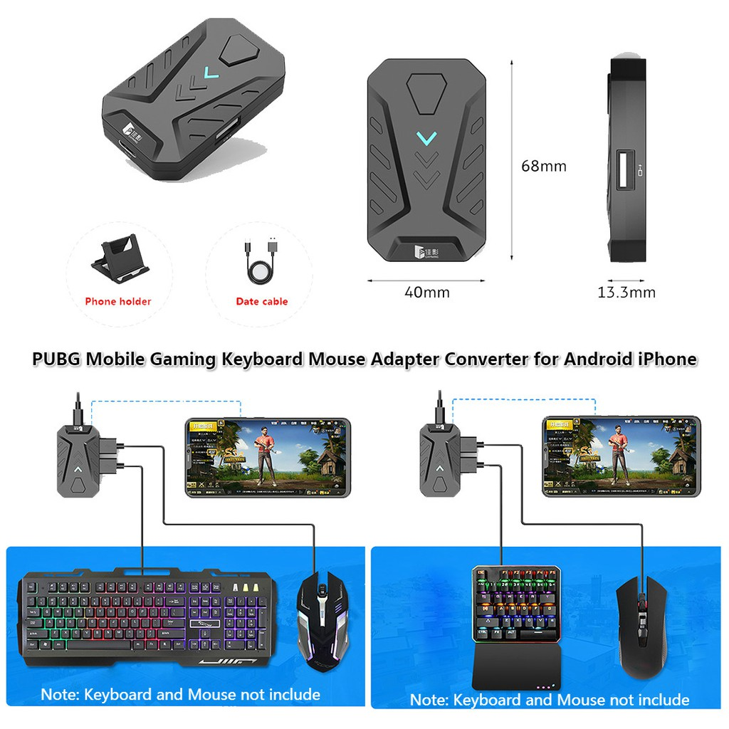 PUBG Mobile Gaming Converter Keyboard Mouse Adapter for iPhone  Android(MediaTek Can't Use)