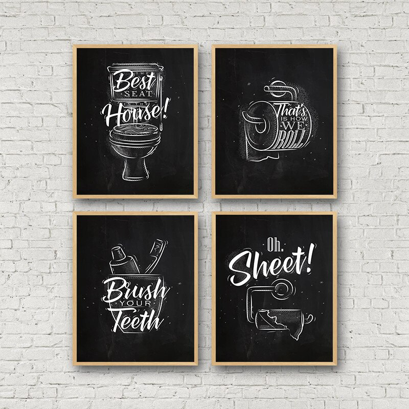Toilet Quote Picture Bathroom Wall Decor Canvas Painting Brush Canvas Art Poster Fashion Black White Washroom Prints Hd2855 Shopee Malaysia