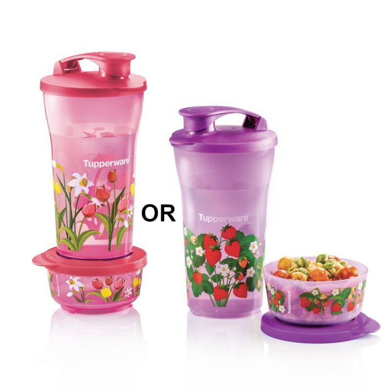 New Tupperware Quench & Snack Set Water Bottle Kids Bottle Container 800ml / Snack Dessert Bowl 200ml