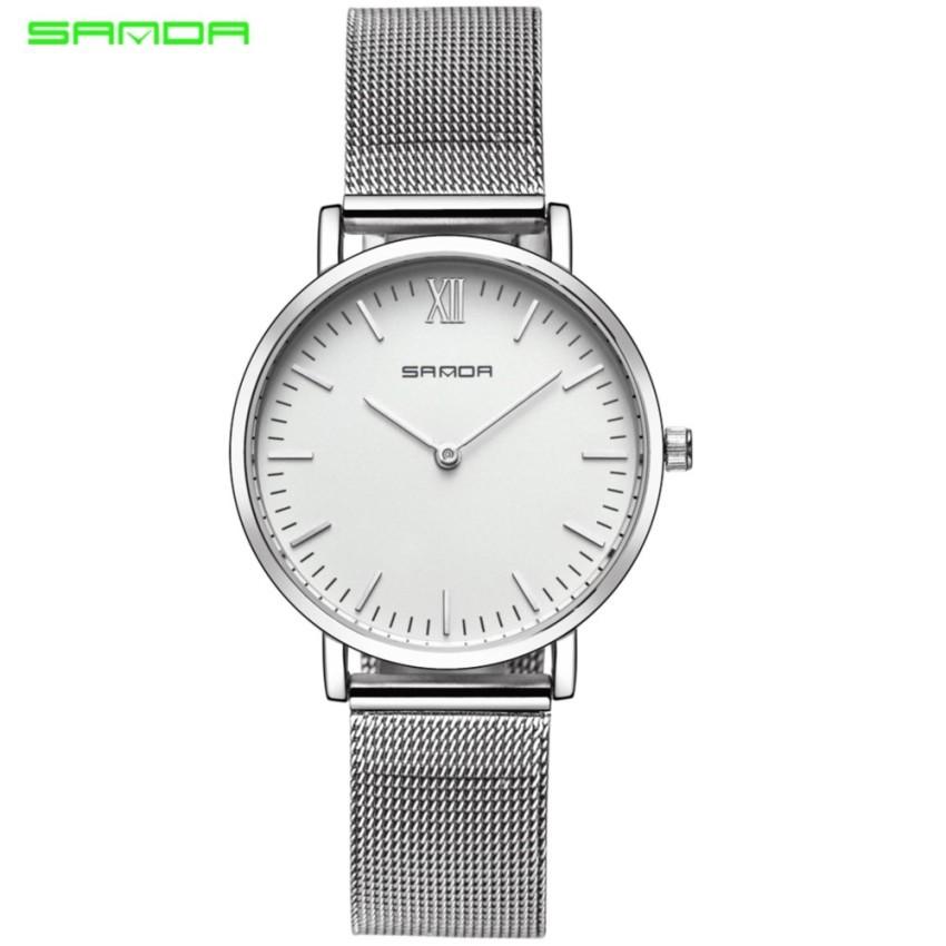 523dd769dc84 Original SANDA P198 Luxury Genuine Leather Band Date Diamond Women Watch