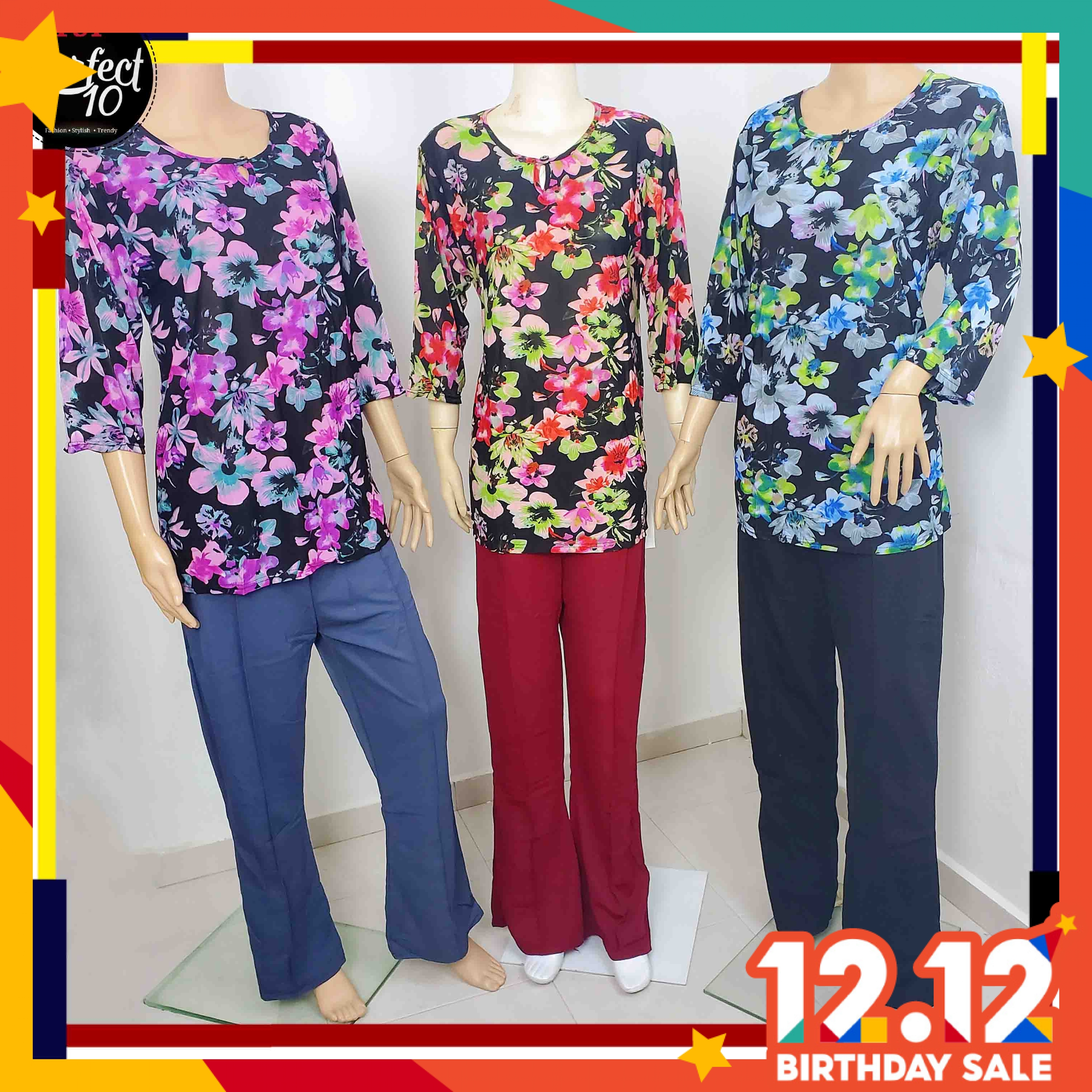 FST Floral Blouse With Front Button / Blaus Bunga Butang Depan [119-3]