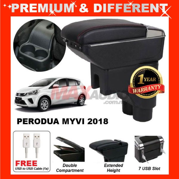 [FREE GIFT Gift] PERODUA NEW MYVI 2018 - 2020 ADJUSTABLE ARMREST 7 USB PORT