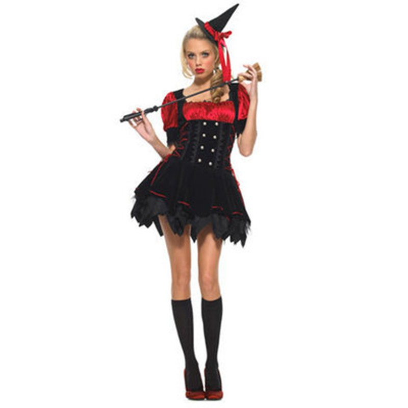 0ba6a9950b6 Women Witch Costumes Lady Red Black Dress Adult Halloween Cosplay ...
