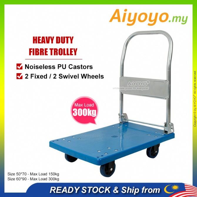 Heavy Duty Foldable PVC Platform Hand Truck Trolley Troli Stor 150kg 300kg Fibre Folding Platform Hand Truck Material Ha