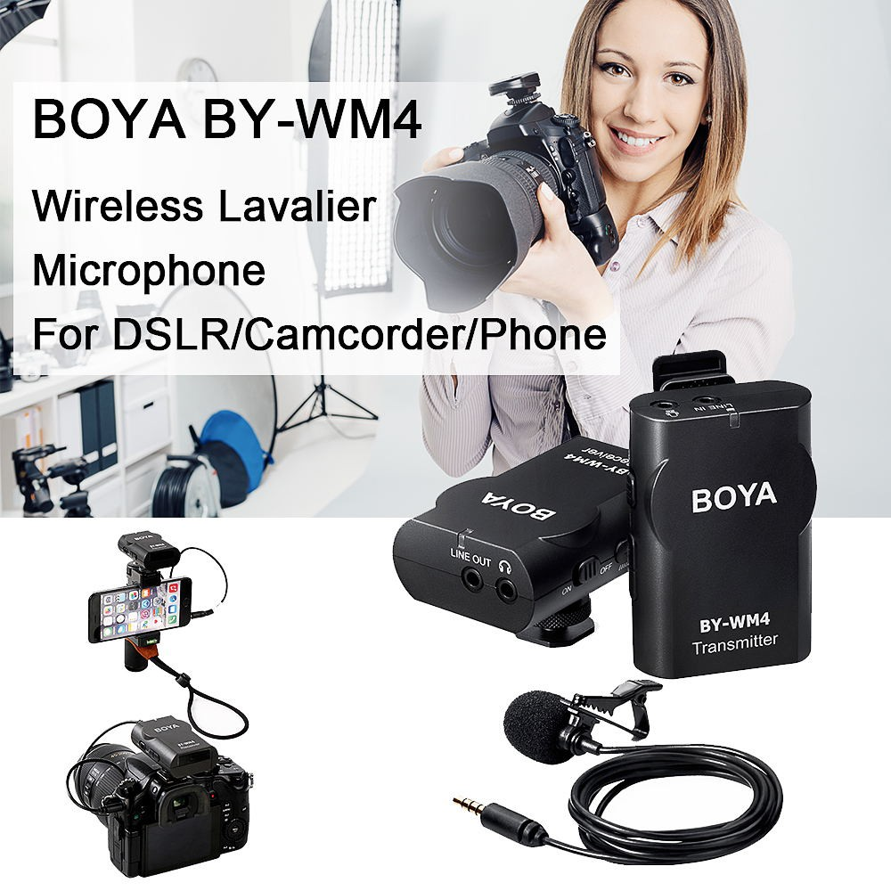 Boya By Wm5 24ghz Wireless Lavalier Microphone System For Dslr M1 Clip On Mic Canon Nikon Sony Camera Kamera Universal Video Camcorder Iphone Shopee Malaysia