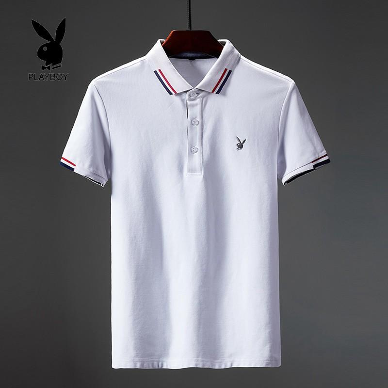 59c36a56 Playboy male polo shirt lapel casual short-sleeved t-shirt