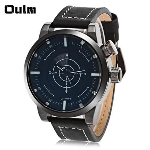 OULM 3558 LED SCANNING LEATHER BAND MEN DOUBLE MOVT WATCH (BLACK)