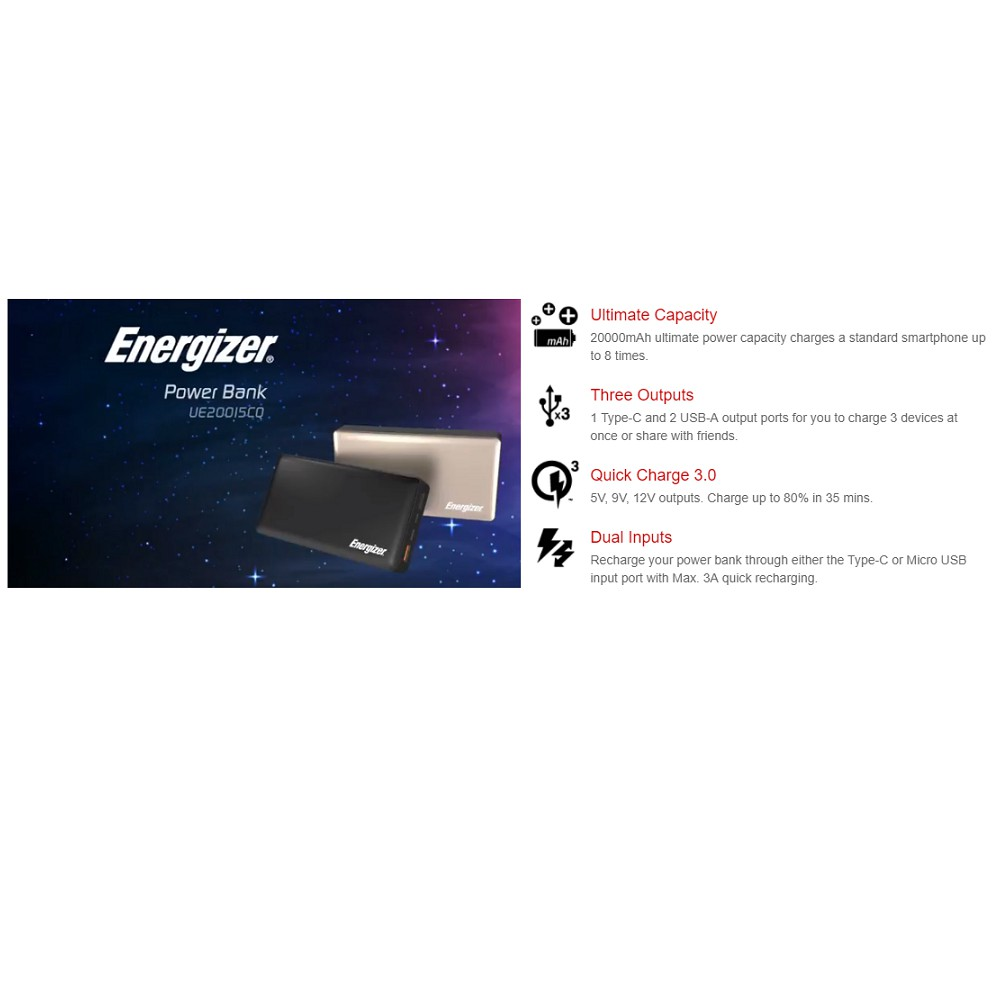 Energizer UE20015CQ (20000MAH) Quick Charge 3 0 With Type-C & Micro USB  Power Bank