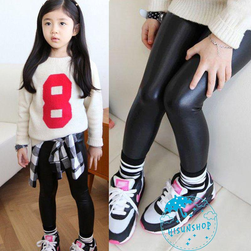 Kids PU Leather Pants Girls Babys Stretch Trousers Toddler Skinny Leggings Warm