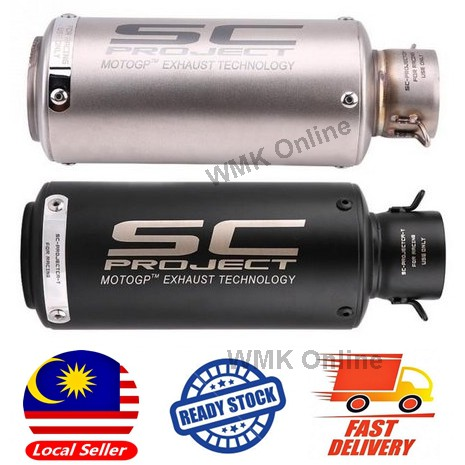 Motorcycle Exhaust Muffler READY STOCK Stainless Steel Universal SC Project