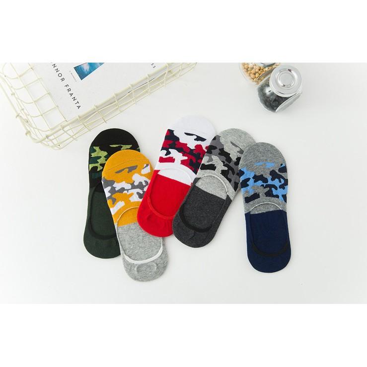 Fashion Male Cotton Camouflage Socks Summer Boat Socks Invisible Socks