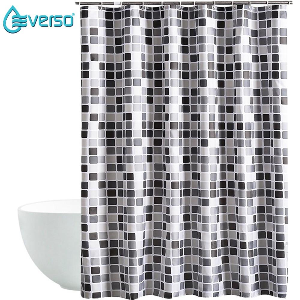 Fabric Waterproof Bathroom Shower Curtain Panel Sheer Decor Hooks 32 Patterns