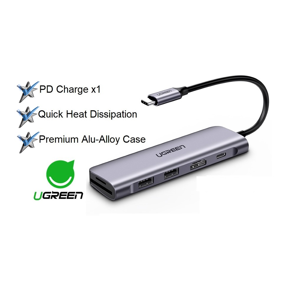 UGREEN 6 in 1 Type C Hub with 4K USB C to HDMI SD TF Card Reader 3 USB 3.0 Ports Macbook ipad Huawei Dell Lenovo Samsung