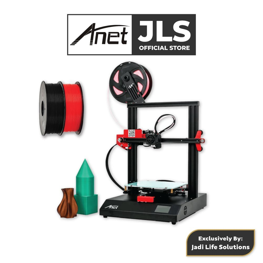 Anet ET4 All-Metal 3D Printer With Industrial Grade Chipset + 2x Black & Red PLA