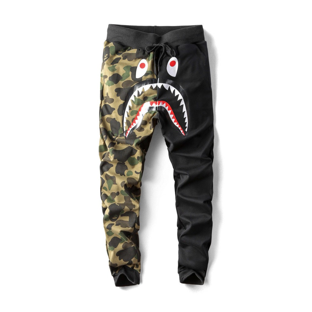 Bathing A Ape Bape Cotton Camo Lace-up Shark Head Casual Jogger Beach Shorts