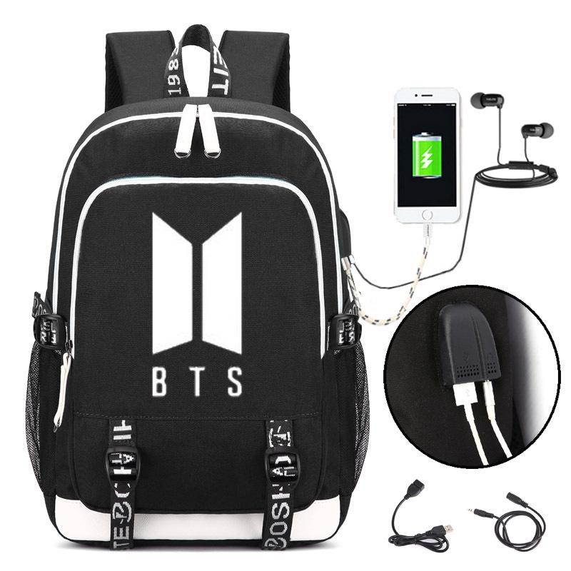 Men's Bags Seventeen 17 Korean Stars Black Backpack Bag School Book Bags Laptop Boys Girls Back To School Gift Casual