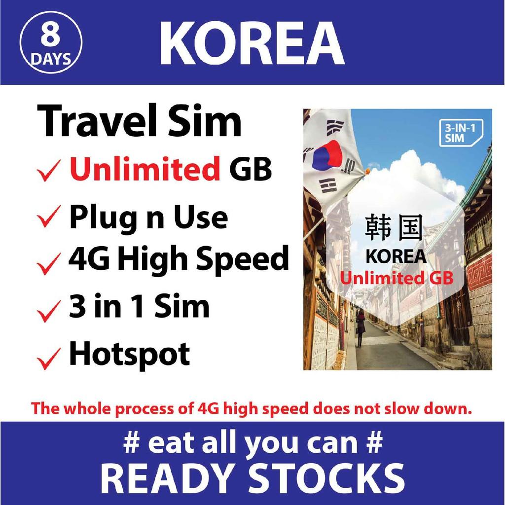 【South Korea】【8-15days】Travel Prepaid Sim Card UNLIMITED GB