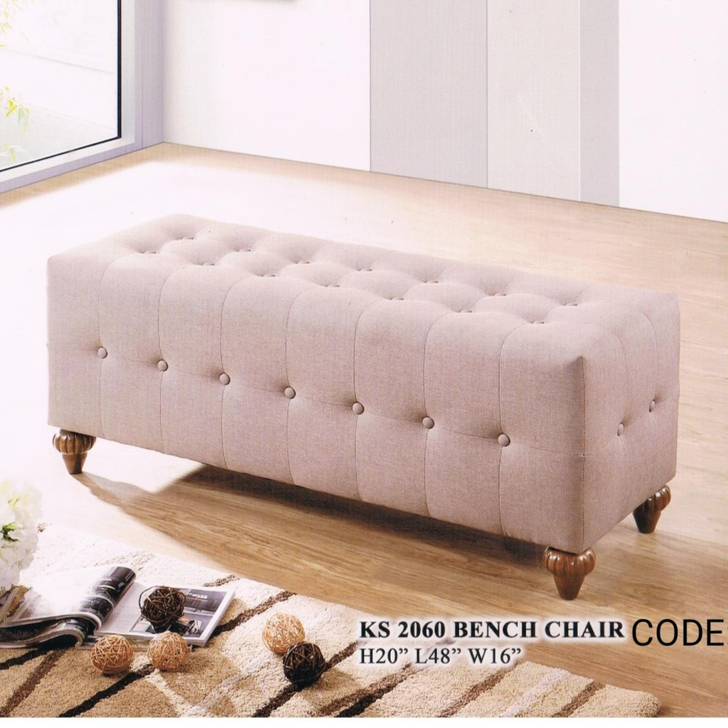 (READY STOCK) VARIOUS STOOL FABRIC OTTOMAN /LONG BENCH CHAIR STOOL WITH WOODEN LEGS