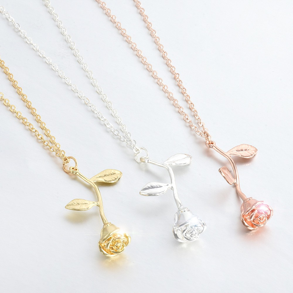 868673630f Elegant Rose Flower Pendant Necklace Earring Valentine's Day Gifts