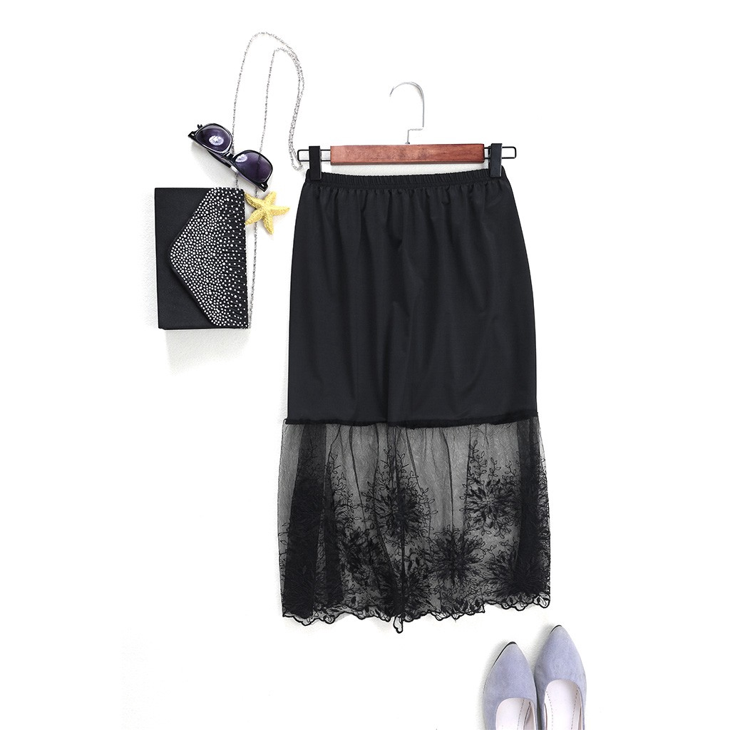 LADIES girls pretty half slip waist petticoat lace hem NEW Size 8-26 BLACK