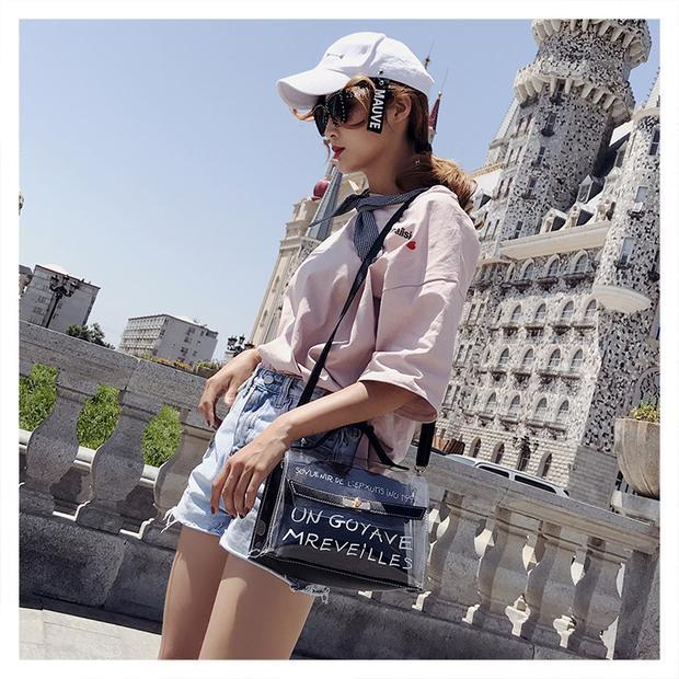 Women's Clear Transparent Sling Bag Tote Bag Crossbody Handbag #beg