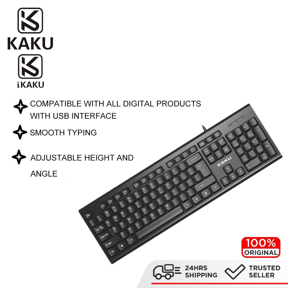 IKAKU KAKU AOBO USB Wired Keyboard Smooth Durable & Comfortable LED Light Indicator Gaming Office Work PC Laptop Windows