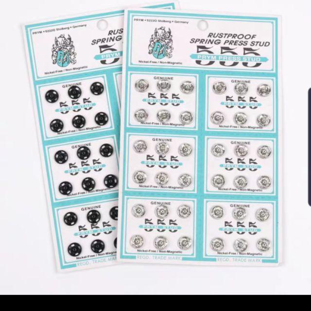 🧵 555 Prym German Fastener 36 sets / 555 Prym Butang Ketip Multiple Size (36 Sets / 1 Papan) 🧵