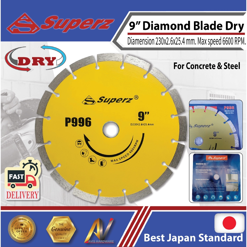 superz P996 9inch 230mm Diamond blade for concrete