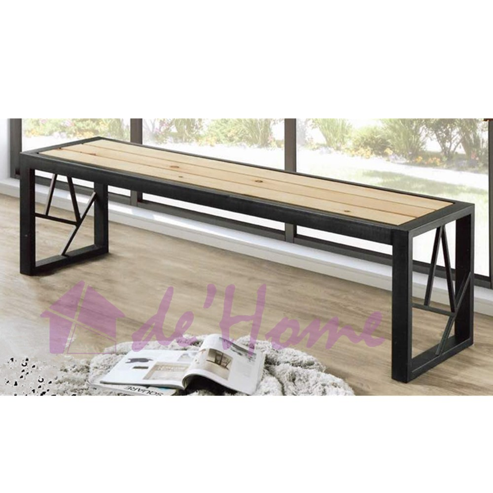Super Free Shipping Dhome 5 Feet Bench Chair Metal Frame Wooden Slat Seat Black Ncnpc Chair Design For Home Ncnpcorg