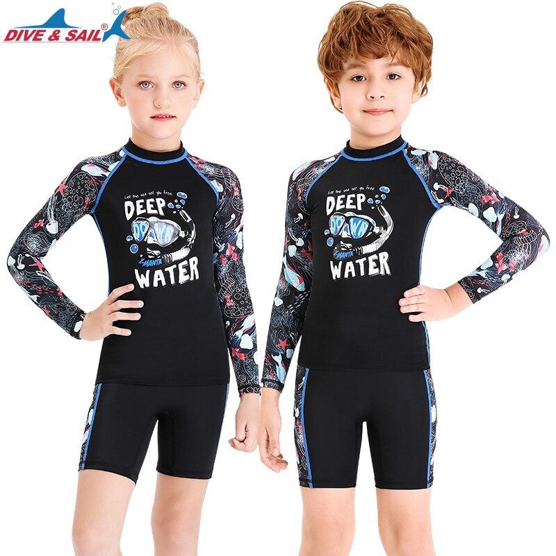 Boys Two Piece Rash Guard Swimsuits Kids Sunsuit Swimwear Sets UPF 50+
