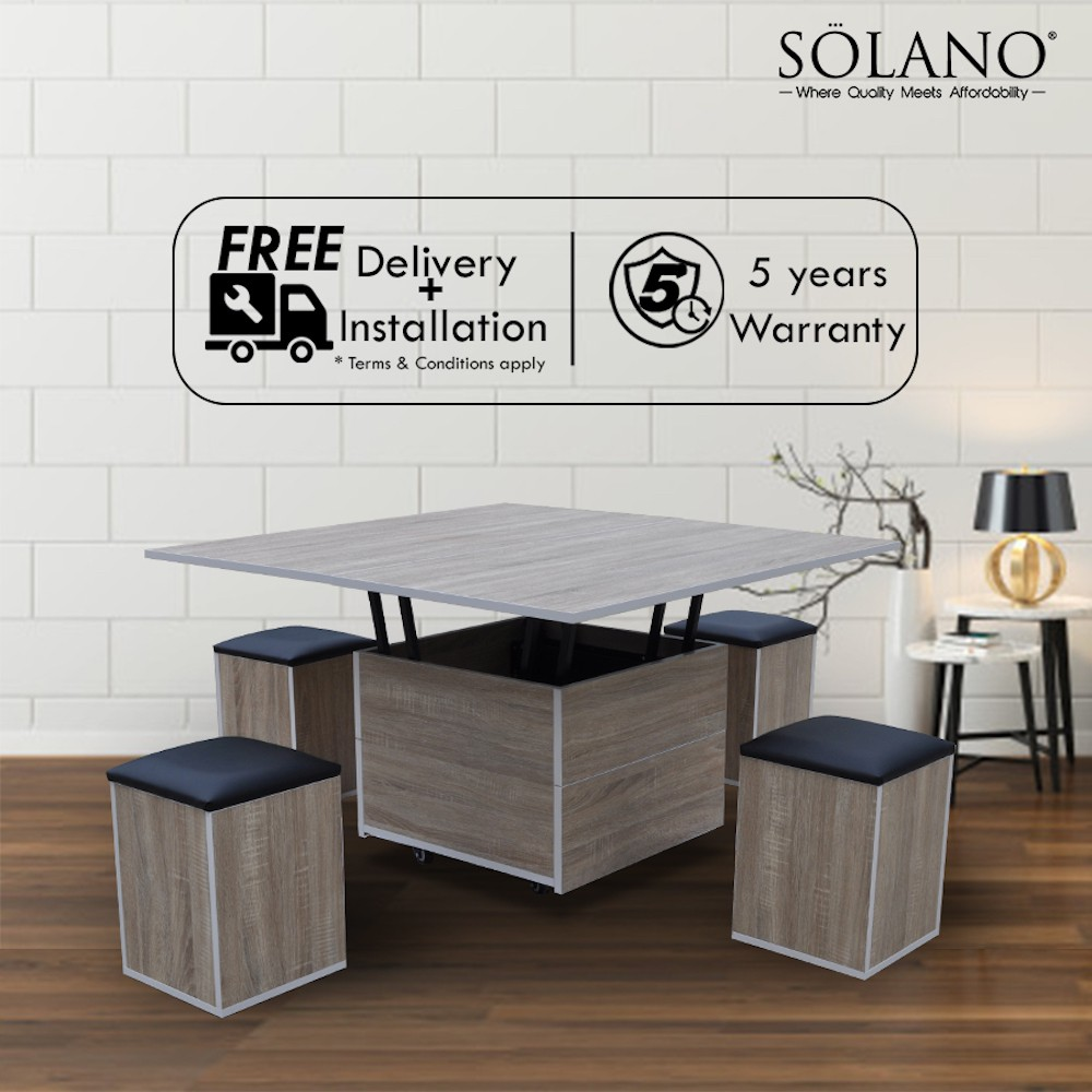 Multi Function Soft Close Convertible Coffee Dining Table With 4